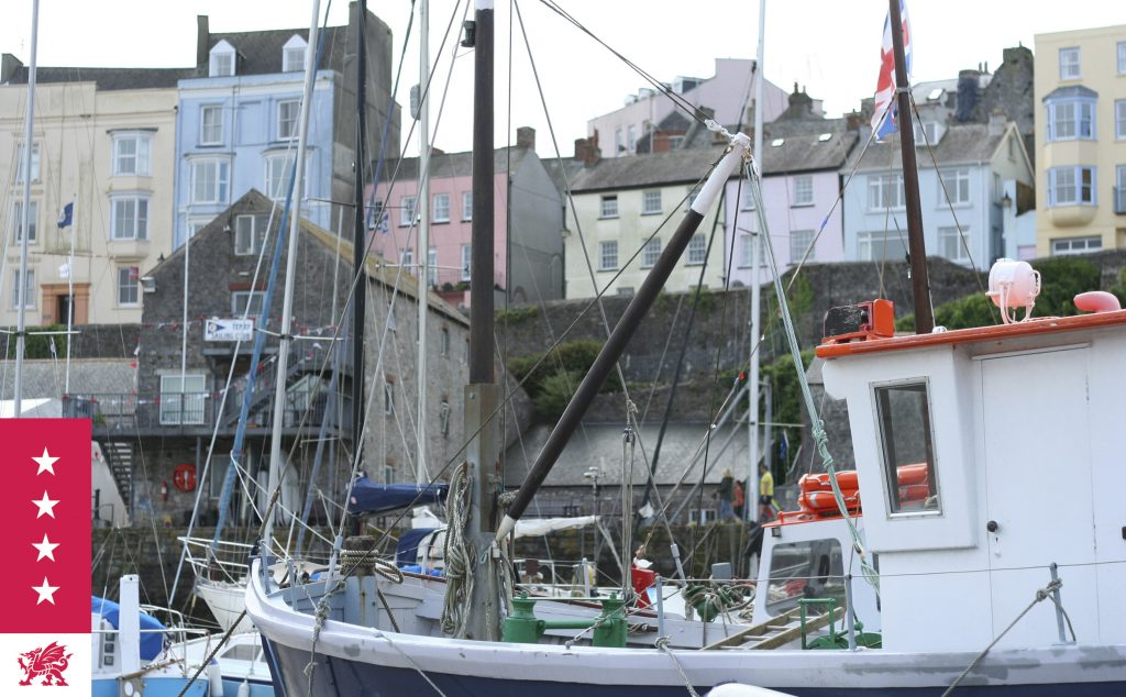 View of Tenby town from the harbour