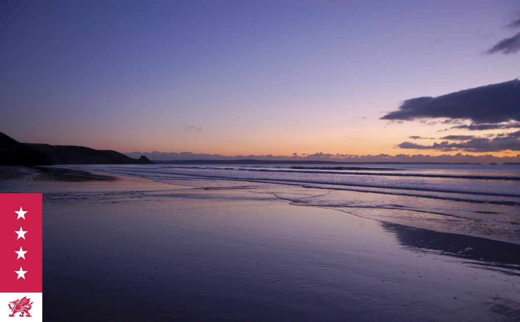 Sunrise at the beach near Saundersfoot